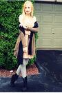 Green-american-eagle-cardigan-black-target-scarf-beige-target-dress-gray-t