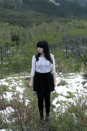 white blouse - black skirt - black tights - brown boots