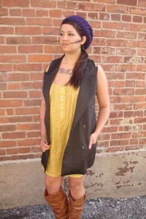 brown reclaimedfashionscom vest - yellow reclaimedfashioncom dress - beige boots