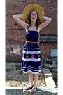 Navy-reclaimed-fashions-dress-bronze-thrifted-vintage-hat