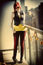 yellow H&M shirt - brick red asos jeans - navy H&M vest