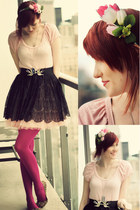 bubble gum modcloth dress - hot pink we love colours tights - camel lulus flats