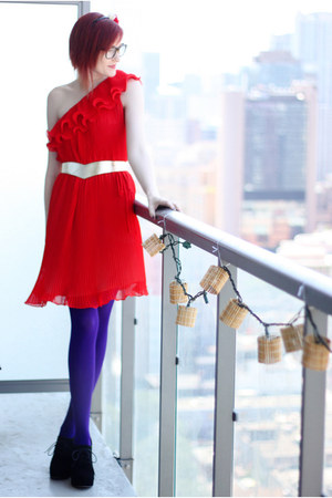 red organza modcloth dress - deep purple nylon We Love Colors tights - black lul
