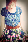 Navy-lace-forever21-shirt-hot-pink-silk-goodwill-skirt
