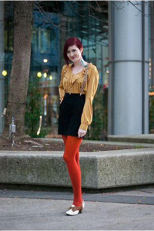 brick red We Love Colors tights - mustard asos blouse - black H&M skirt