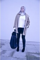 black deezee boots - tan SH coat - off white Front Row Shop blouse