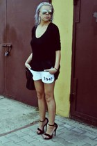 black Zara blouse - off white NN shorts - black new look heels