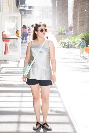 silver Express top - mint charmingcharlie bag - comfy FitFlop sandals