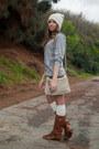 Steve-madden-boots-h-m-hat-dsw-bag-urban-outfitters-socks-h-m-skirt