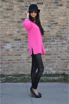strappy wedges Jeffrey Campbell shoes - neon sweater Zara sweater