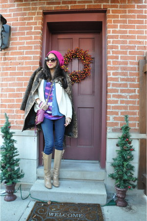 cable Forever 21 hat - camel Jimmy Choo boots - dvf sweater