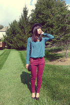 forest green Uniqlo blouse - brick red Zara pants