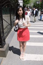 red Zara skirt - ivory Forever 21 top - white banana republic wedges