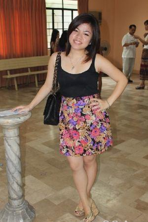 black Topshop top - cotton on skirt - Charlotte Russe shoes - Chanel purse - tif
