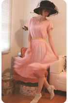 pink vintage dress - black vintage hat - blue American Apparel socks - white vin