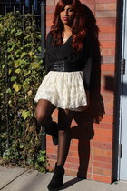 gray dress as a top ever dress - black Bamboo boots - cream unknown brand skirt