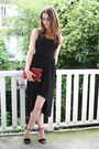 Black-asymetrical-2dayslook-dress-brick-red-lizard-vintage-bag