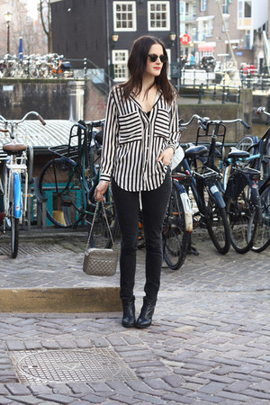 white striped Choies blouse - dark gray weekday jeans