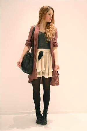 brown elle cardigan - beige Topshop skirt - black vintage purse - gray H&M top -