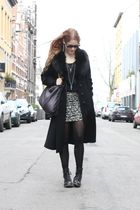 black vintage coat - gray Stella McCartney purse - gray f21 skirt - black H&M bo