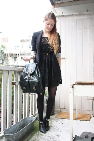 black Love Label dress - black Zara blazer - black H&M tights - black vintage bo