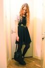 Black-h-m-dress-black-vintage-purse-gray-only-top-black-wedins-boots