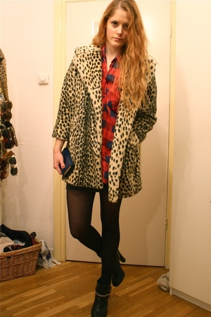 beige Topshop coat - red my grandmas shirt - black H&amp;M boots