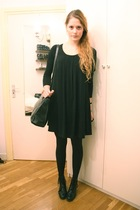 black Badgley Mischka dress - black vintage purse - black Wedins boots