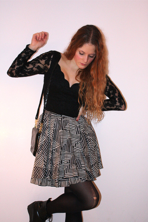 gray Topshop skirt - black Wedins boots - black as top vintage dress
