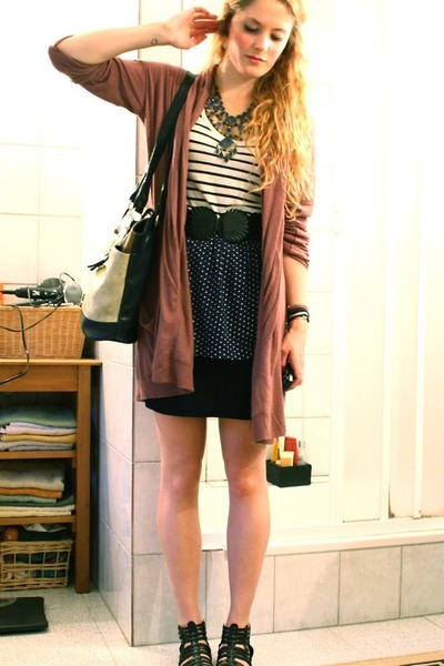 brown elle cardigan - blue vintage skirt - white H&M top