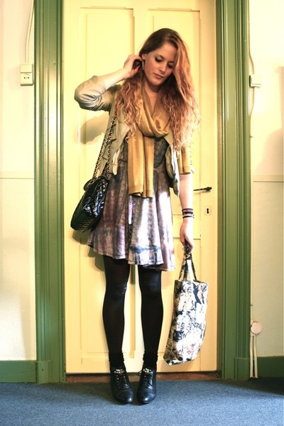 Zara jacket - vintage dress - vintage accessories - H&M scarf - vintage boots