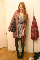 brown elle cardigan - gray vintage dress - gray Stella McCartney purse - black H