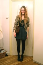 brown H&M cardigan - black H&M boots - brown vintage bag