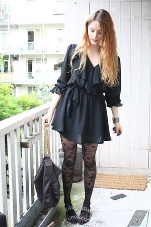 black vintage dress - black H&amp;M tights - blue vintage shoes - gray Stella McCart