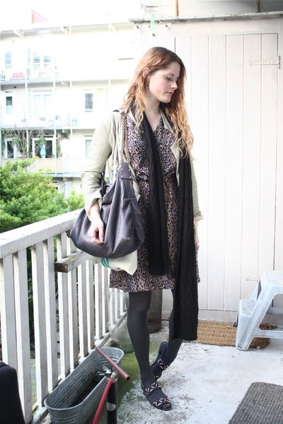 brown vintage dress - beige Zara jacket - black H&amp;M scarf - gray Stella McCartne