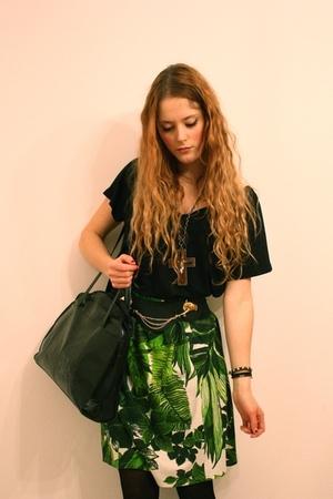 green vintage skirt - black Filippa K t-shirt - black vintage purse - black Booh