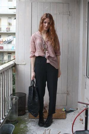 pink Topshop blouse - black vintage pants - black vintage purse - black H&M boot