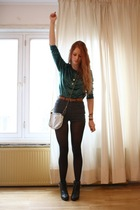 green vintage sweater - gray vintage shorts - white vintage purse - brown vintag