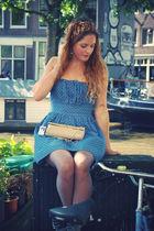 blue miss patina dress - beige vintage purse - brown vintage scarf - black vinta