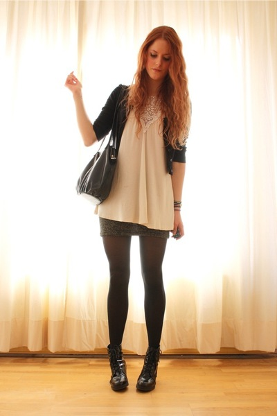 black short H&amp;M top - black lace-up Wedins boots - beige H&amp;M shirt