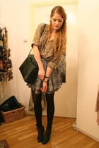 brown vintage blouse - gray Topshop skirt - black vintage purse - black H&M tigh