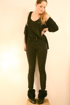 black Strellson cardigan - black H&M top - black American Apparel jeans - black