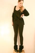 black Strellson cardigan - black H&M top - black American Apparel jeans - black