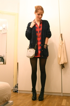 blue vintage cardigan - red my grandmas shirt - black H&M tights - black Wedins
