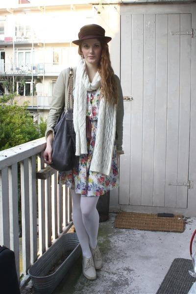 white H&M scarf - white vintage dress - white welovecolorscom tights - beige sec