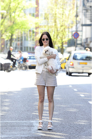 ivory Mango jacket - ivory weekday shorts - black round ray-ban sunglasses