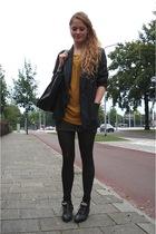 black studded ankle vintage boots - blue paisley vintage blazer