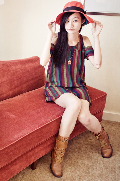 brown boots - Urban Outfitters dress - Forever 21 hat