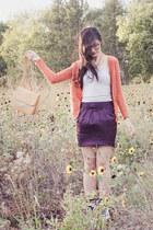 purple satin Forever21 skirt - white 8hole Dr Martens boots