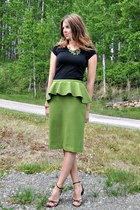 chartreuse peplum Self Made skirt